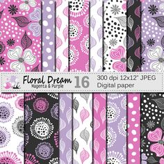 "Seamless Floral Magenta and Purple Digital Paper ""Floral Dream"", Hand Drawn Flowers Seamless Pattern, Printable Scrapbook Paper by VRDigitalDesign on Etsy"