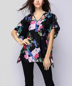 Loving this Black Floral Cape-Sleeve Tunic - Women on #zulily! #zulilyfinds