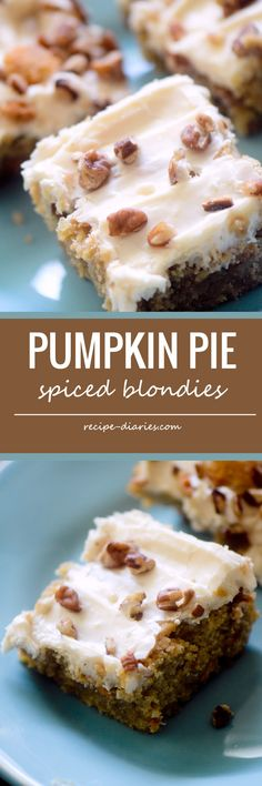 Pumpkin Pie Spiced Blondies - Recipe Diaries #blondies #pumpkin #Fall