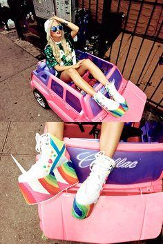 Wildfox Couture Blue Aviators, Dolls Kill Hate Sequin Jersey, Yru  Unicorn Platforms