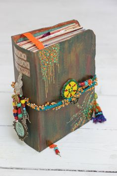 Folk art journal rustic photo album in one with by LotusBluBookArt