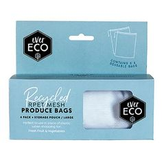 Help our planet with these reusable produce bags from Ever Eco and stop using single use plastic in the supermarket. 4 Bags per pack in a handy pouch with clip on. At Official Stockist Flora & Fauna. Produce Bags, Eco Friendly House, Recycle Plastic Bottles, Pouch Bag, Mesh Fabric, Large Bags, Go Shopping, Packing, Design Packaging