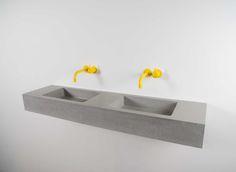 Kast double Flor grey concrete basin