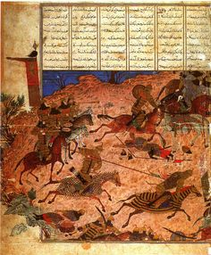 Mongol warriors in a battle portrayed in a 14th century miniature.