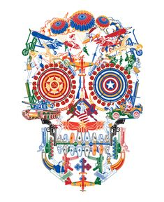 I love how this skull is made up of random war objects. it delivers the message that war=death, and beautifully so
