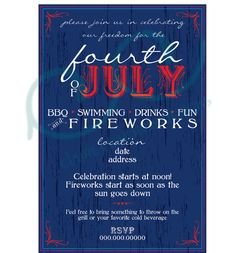 4th of July Invitations by CCdesignSpace on Etsy, $10.00