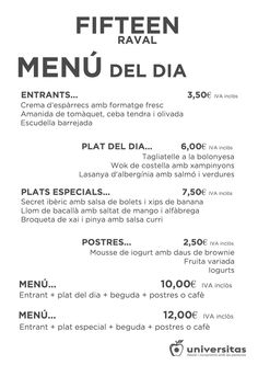 ¿Estás en el #Raval y no sabes qué #comer? Ven a Fifteen Raval, este es nuestro menú de hoy #bcn