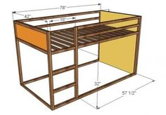 Use this plan as the basis to build the low loft bed with dressers.
