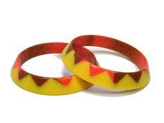 Vintage Lucite Bangle Bracelets, Yellow Orange Brown, Geometric Triangle, Vintage Jewelry, Plastic Bangles, Plastic Jewelry by VintageGemz on Etsy