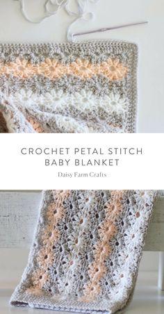 Free Pattern - Crochet Petal Stitch Baby Blanket #crochet