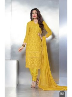 Buy Online Yellow Nazneen Chiffon Santoon Silk Designer & Fashionable Salwar Suits only on GetAbhi.com