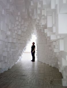 Intervention#10, view at Boijmans Van Beuningen Museum, Rotterdam. Styrofoam blocks, wooden structure, 2009