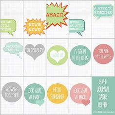 14 Free Grid Journal Cards Set for Project Life