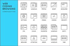 Awesome Web Coding Browsing Icons by Ckybe's Corner on @creativemarket
