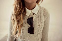 Collared Shirt with Cable Pullover
