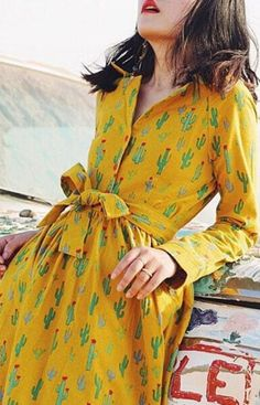 May Flower Collection yellow cactus cute dress #yellowdress #summerdress #ad #etsy
