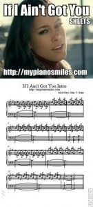 "Here you will find the notes to the intro for Alicia Keys' ""If I ain't Got You."" A favorite in piano land, I might add! It's fun to play this song. Start out slow and put your pinky on E and your p. Free Sheet Music, Piano Sheet Music, Music Sheets, Alicia Keys, Music Lyrics, Movie Stars, You Got This, Songs, Charts"