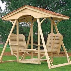 Cool Double Swing Chairs With Roof Patio swing set, Swinging chair, Double swing Cool Double Swing Chairs With Roof Patio swing set, Swinging chair, Double swingThese are 15 Images about Cool Double Swing Chairs With Ro. Patio Swing Set, Lawn Swing, Wood Swing, Pergola Swing, Pergola Plans, Diy Pergola, Pergola Kits, Swing Chairs, Wooden Patios