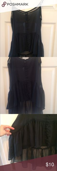 🍾💥Adorable black sheer tank 100% polyester sheer high low tank! With buttons down the front and ruffle like edge, it's so girly and beautiful! Perfect with a bandeau underneath or a black camisole ☺️👌🏻🎉🎁 Cotton On Tops Blouses