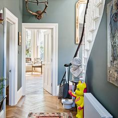 Lovely colour scheme and flooring.Traditional hallway staircase and parquet flooring- west London home House Tour by Livingetc Style At Home, Hall Colour, Grey Hallway, Blue Hallway Paint, Duck Egg Blue Hallway, Duck Egg Blue Living Room, Victorian Hallway, Hallway Colours, Hallway Colour Schemes