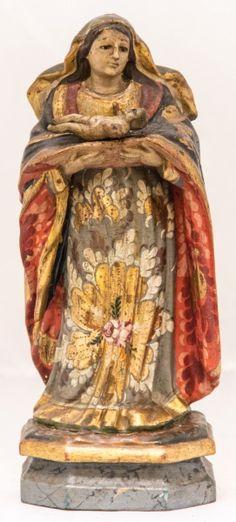 Imagem madeira policromada, Nossa Senhora do Parto. Bahia, século XIX. Alt. 27cm. Não vendida. Base 600,00.