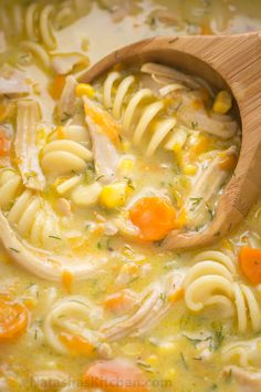 Creamy chicken noodle soup is loaded with shredded chicken, noodles, and veggies. Creamy chicken soup tastes like a chicken pot pie. Easy and loved by all! | natashaskitchen.com