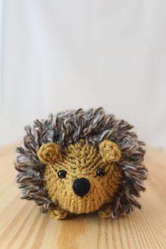 Erizo poco tejido en miel y tweed lana peluche por Yarnigans