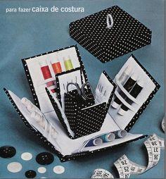 Exploding Sewing Box. Click on link for tutorial and free template. http://desafiosdecartonagem.blogspot.com.br/