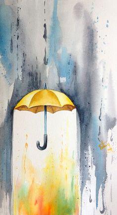 Painting rain yellow umbrella Watercolour painting, I love the idea of this painting. Yellow Umbrella, Umbrella Art, Umbrella Painting, Drawing Umbrella, Umbrella Tattoo, Rain Tattoo, Storm Tattoo, Painting Inspiration, Art Inspo