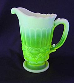 Vaseline Glass Pitcher