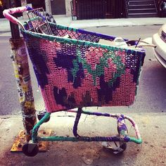 I like the idea of using ordinary objects like a trolley and making them stand out with different fabrics/materials.