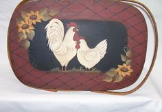 Vintage Picnic Basket with Hand Painted Lid Primitive Folk Art White Rooster Hen Chicken Sunflowers OFG