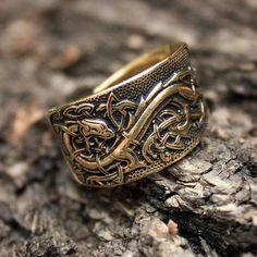 Bronze Celtic Dragon Amulet Talisman 3D Adjustable by MAGICrebEL