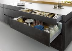 Outstanding Black Kitchen Decor Kitchen Modern with Modern Ideas Gray Open Shelves Stainless Steel Hardware Flat Panel Cabinets Designs Concrete Kitchen, Kitchen Flooring, Kitchen Cabinets, Gray Cabinets, Concrete Floor, Island Kitchen, Concrete Countertops, Kitchen Styling, Kitchen Storage