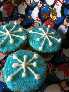 2014 Halloween snowflake cupcakes with sugar for kids - Disney Frozen