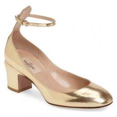 Valentino Metallic Gold Tone Leather Tango Pumps - 40% Off