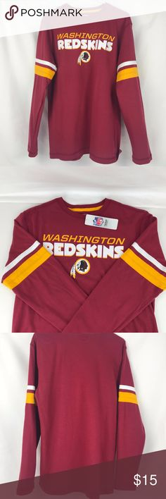 Washington Redskins Men's Long Sleeve Tee Brand New Officially Licensed with tags. This stylish men's long sleeve Coverage Call Tee has team screen print in front and bold contrasting sewn on stripes on the arms. Made from super soft 100% cotton for Game Day and every day. (M)34502683300 (L)726654440008 (XXL)726651705759 NFL Shirts Tees - Long Sleeve