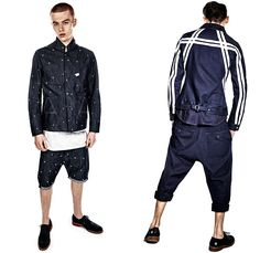 G-Star RAW 2014 Summer Mens Denim Jeans Collection - Amsterdam The Netherlands - Tapered Layer Jacket Worker Workwear Cargo Pockets Zipper Utility Trucker Jacket Raw Selvedge Knee Panel Distressed Vintage Bomber Jacket Jogging Sweatpants Boots Shorts Shortie A Emblem Initial Embroidery Cinch Back