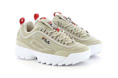 738574b62d1d FILA Disruptor Low Turtle Dove Beige Natural Red Logo chunky bulky 90s dad  sneaker womens Dad