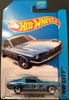 Hot Wheels - 2014 Mustang 50th, HW City 98/250, '67 Custom Mustang, blue with white and pink striping (Have 2)