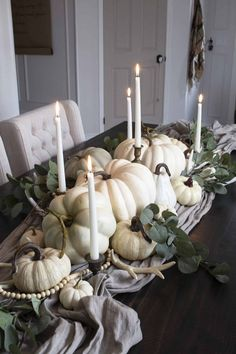 white pumpkin pile centerpiece Thanksgiving Tablescapes, Thanksgiving Decorations, Seasonal Decor, Faux Pumpkins, White Pumpkins, Autumn Display, Fall Displays, New Years Dinner, Centerpieces
