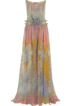 Printed silk-chiffon maxi dress #silkdress #women #covetme #emiliopucci