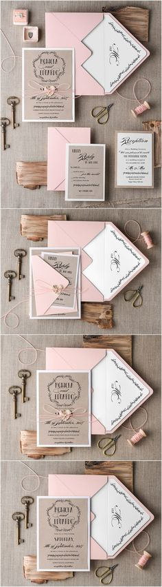 Rustic country blush pink wedding invitations // #rusticwedding #countrywedding…