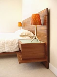 Custom Made Floating Bed~finish and square cut bad, concept are good Custom Bed Frame, Oak Bed Frame, Queen Canopy Bed, Queen Headboard, Custom Furniture, Home Furniture, Floating Bed Frame, Platform Bed Designs, Oak Beds