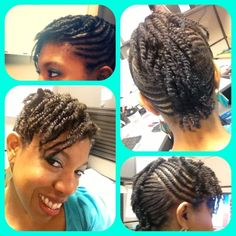 #myrockstarlook Funky braided to two strand twist  Mohawk on shoulder length natural hair! -Ag