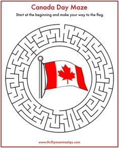 Fun Easy Canada Day Maze - Thrifty Mommas Tips Canada Day 150, Canada For Kids, Canada Day Crafts, Canada Day Party, Canadian Things, Canada Holiday, World Thinking Day, Summer Reading Program, Remembrance Day