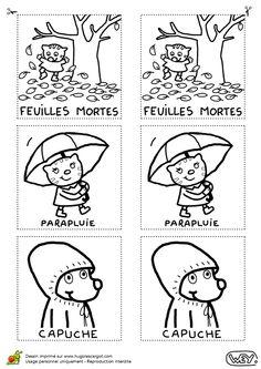 Coloriage / dessin memory automne feuille parapluie capuche