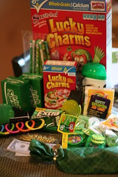 It all started with the idea to send all the kids a box of Lucky Charms. so I kinda went crazy from there. Sent the surprise packag. Fundraiser Baskets, Raffle Baskets, St Pattys, St Patricks Day, Lottery Ticket Tree, Holiday Baskets, Farewell Gifts, Military Gifts, Easy Diy Gifts