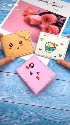 Cool Paper Crafts, Paper Crafts Origami, Diy Paper, Fun Crafts, Diy Wallet Paper, Diy Origami Wallet, Kawaii Crafts, Origami Bookmark, Paper Crafting
