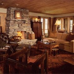 Traditional Family Room Log Cabin Decorating Design